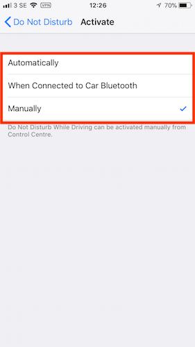 Do Not Disturb While Driving Setup iOS11